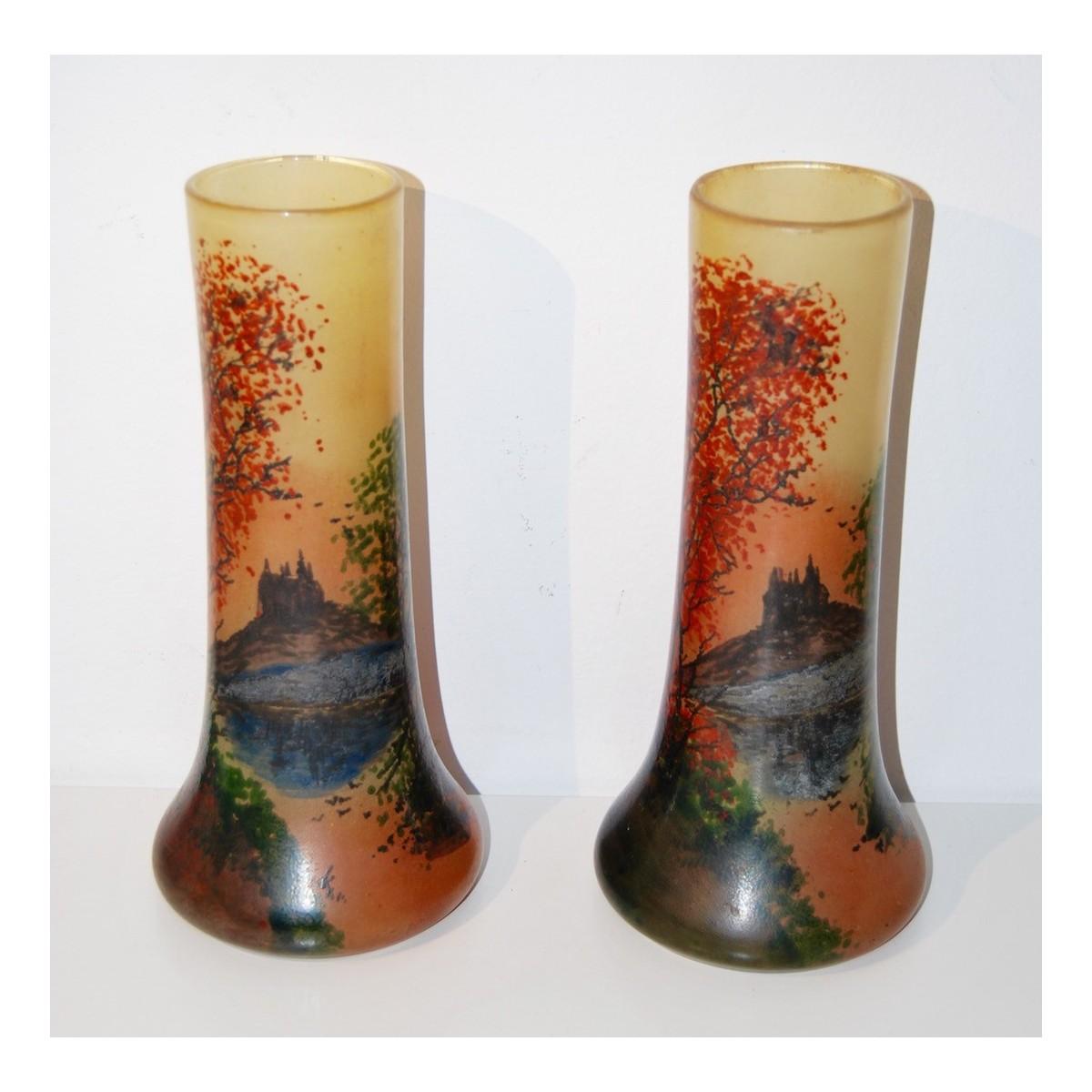 jarrones de cristal esmaltado modernistas - Jarrones De Cristal