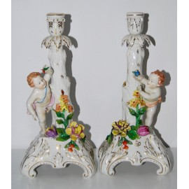 Candeleros de porcelana Dresden, principio del siglo XX
