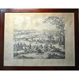 Batalla de las dunas, grabado del siglo XVIII.
