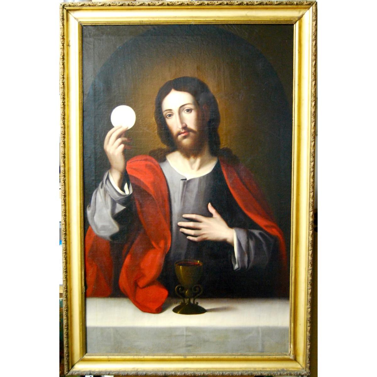 """""""Cristo eucarístico"""", óleo sobre lienzo, escuela valenciana de finales del siglo XVIII"""
