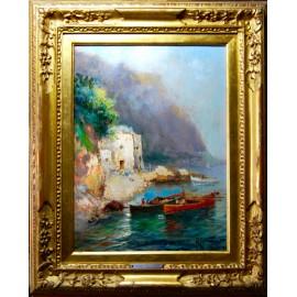 """Oscar Ricciardi (Napoli, 24 febbraio 1864 – Napoli, 1935), """"Marina"""", óleo sobre tabla."""