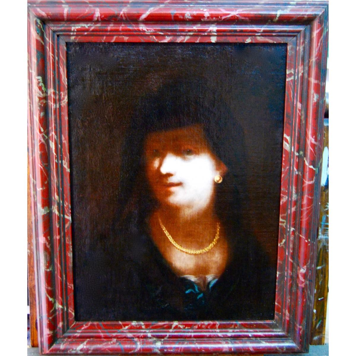 Retrato de mujer con collar de oro, pintura flamenca del siglo XVII.