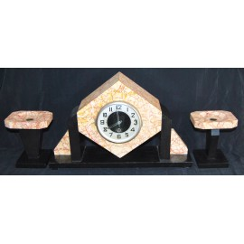 Marble art deco clock with garniture.