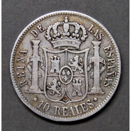 10 reales silver coin, 1853, Madrid.