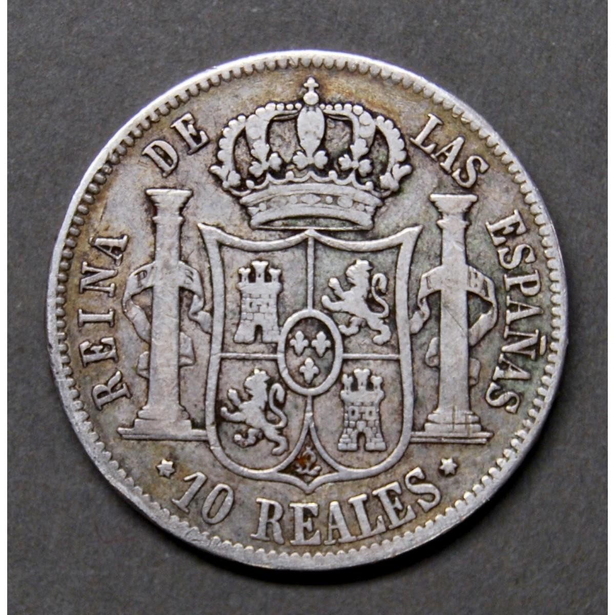 10 reales de plata del 1853, ceca de Madrid.