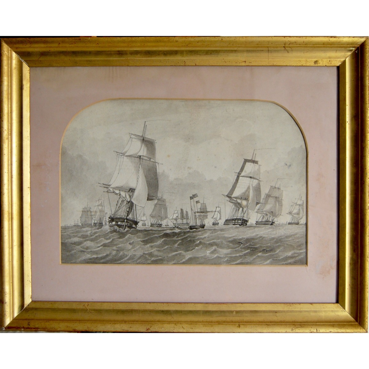 Marina con veleros, acuarela, del siglo XIX.