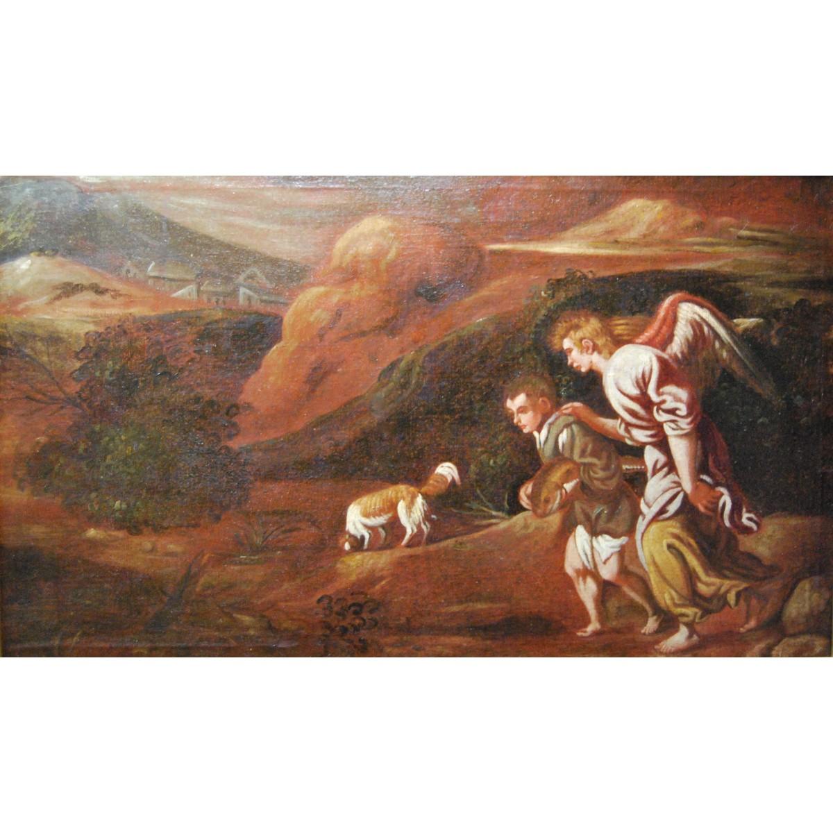 """""""Tobia y el ángel"""", pintura valenciana del siglo XVII, óleo sobre lienzo"""