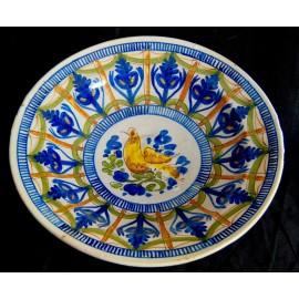 """Plato de cerámica del siglo XIX de Manises (Valencia), """"ave"""""""