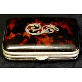 Antique purse genuine tortoise shell sterling silver engraved initials, early 20th century (1900-1920)