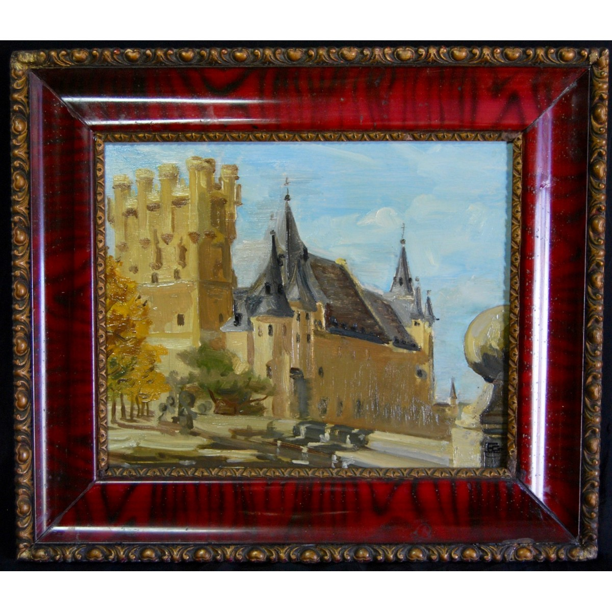 "Enrique Giner Canet, vista del ""Alcazar de Segovia"", óleo sobre tabla."