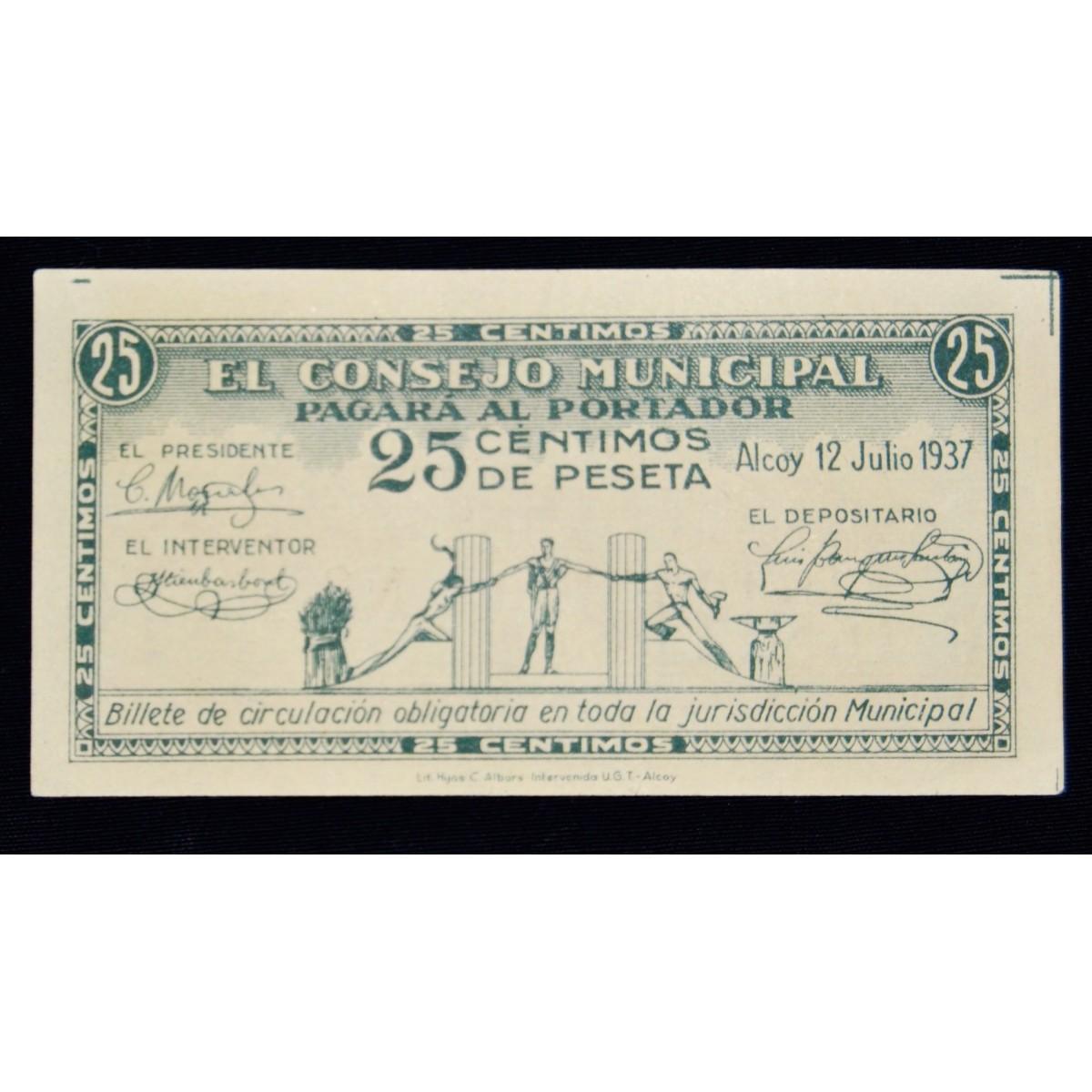 Billete de 25 céntimos, 12  julio 1937, Alcoy.