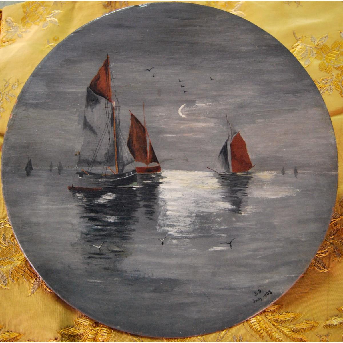 """""""Marina"""" plato de terracotta pintado, 1903."""