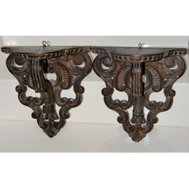 Pair of antique wall sconce shelves 19th