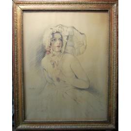 """""""Mujer con sombrilla"""" dibujo, principio del siglo XX"""