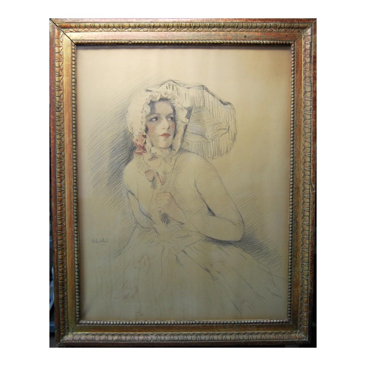 """""""Donna con parasole""""  disegno, primi del 900"""