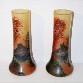 Pair of glass vases enameled painted, art nouveau.