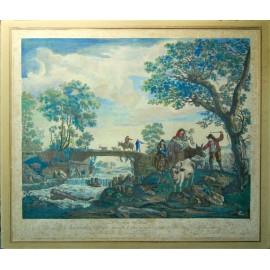 Grabado acuarelado del siglo XVIII.
