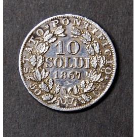 Moneda de 10 soldi de 1867, estado vaticano