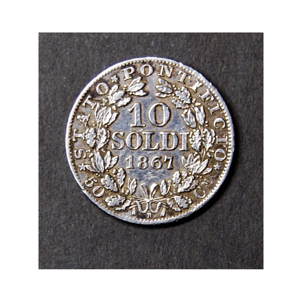 Coin of 10 soldi, 1867, pontifical state