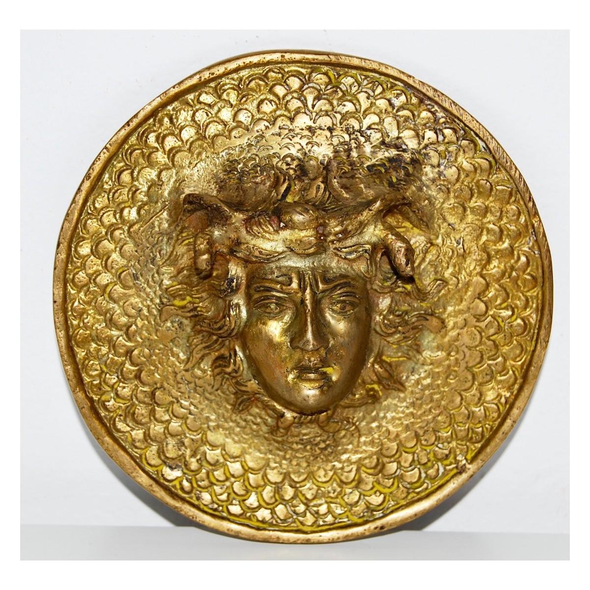 Medaglia di bronzo, fine 800, volto di Medusa