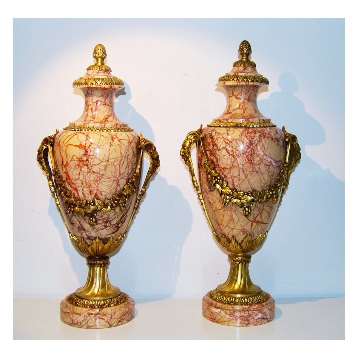 Pair of vase marble and bronze, 19th