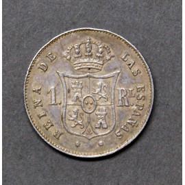 1real d'argento del 1853, zecca di Barcellona
