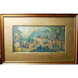 "Watercolor, ""Wedding Banquet"", France 18th"