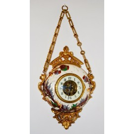 Wall clock, Porcelain and bronze, early 20th