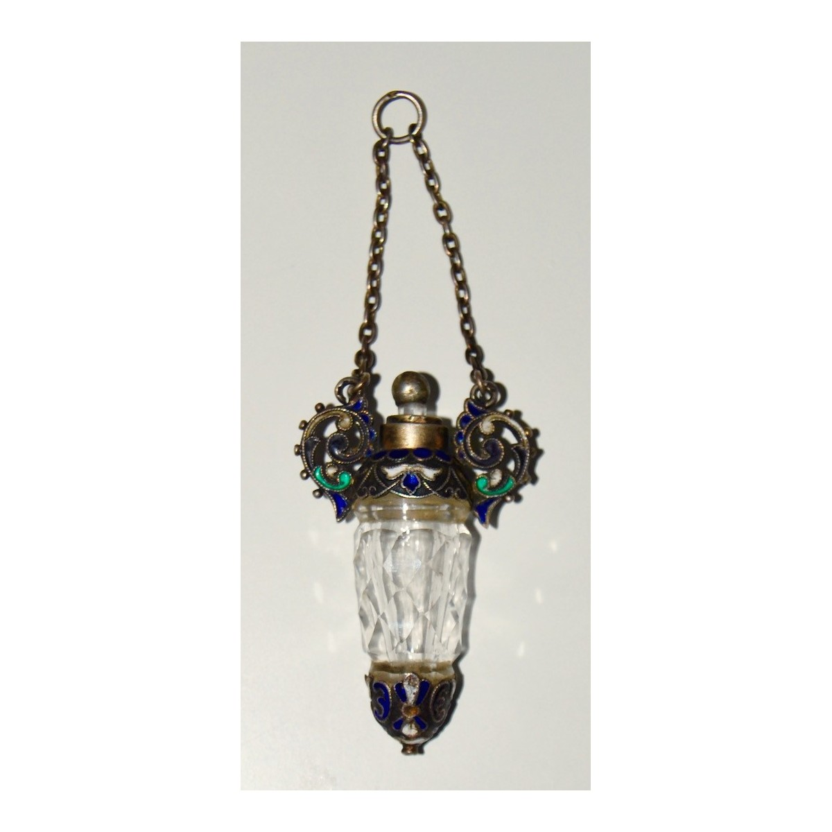 Pendant/perfume bottle crystal and silver