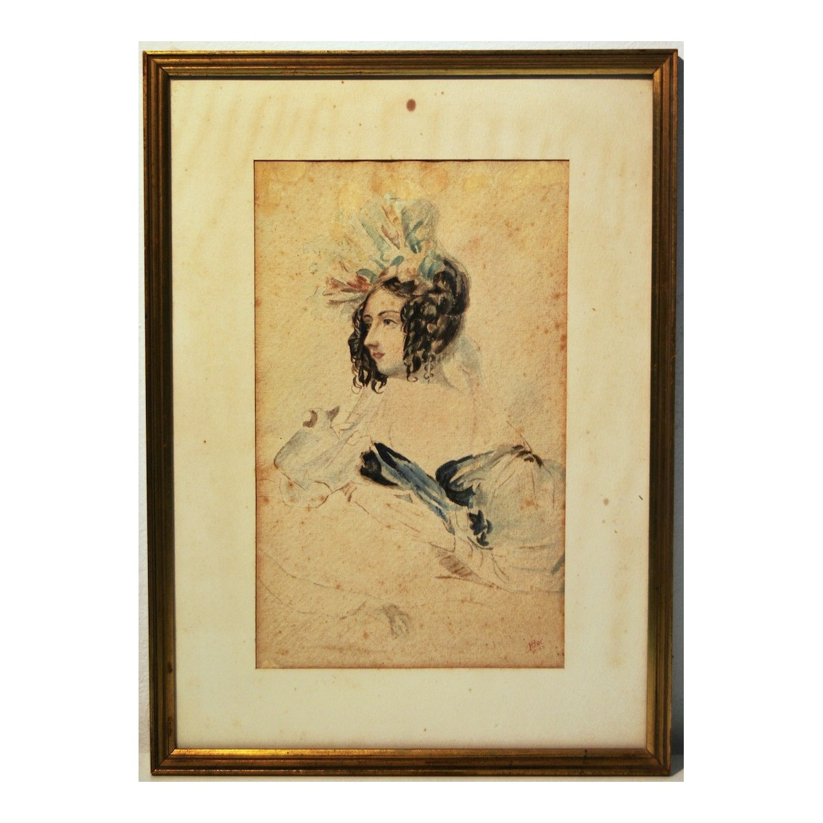 Portrait of a lady, watercolor early 20th