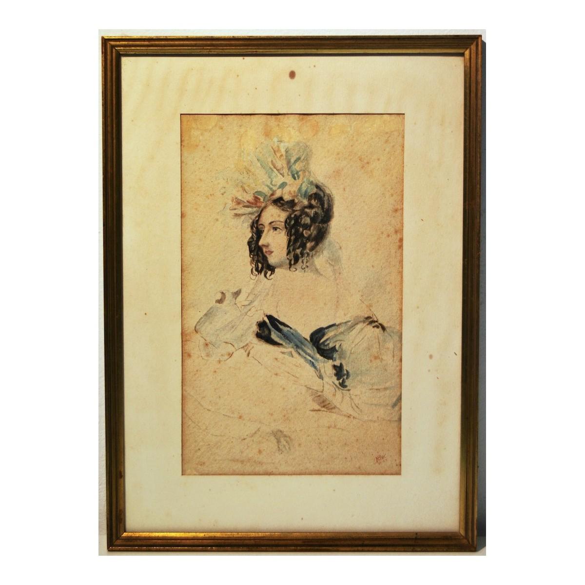 Ritratto di dama, acquerello primi 900