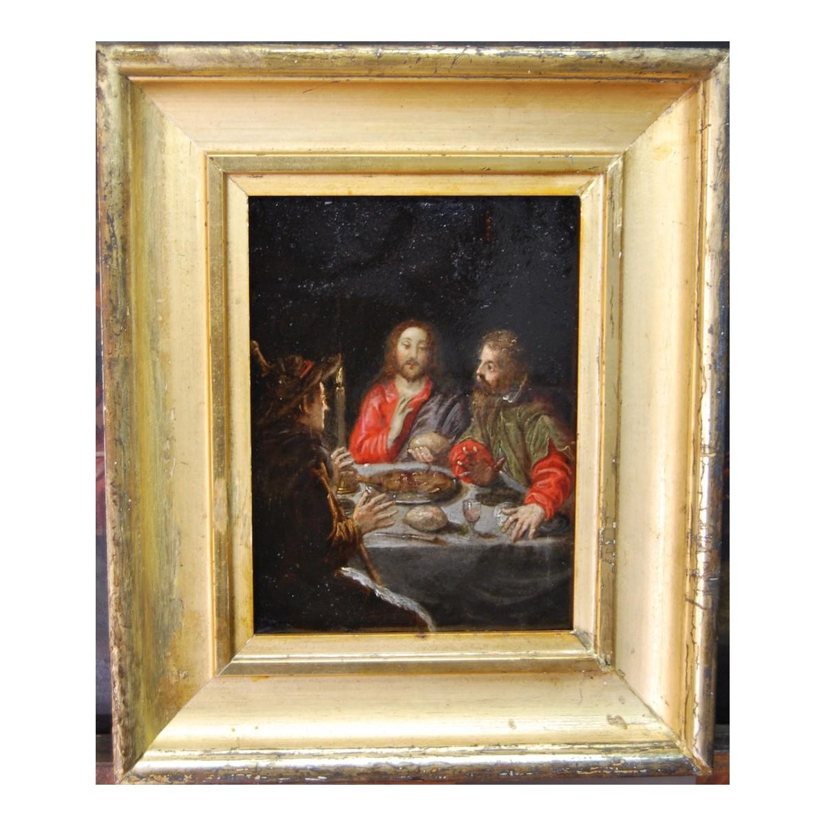 """""""Dinner of Émaus"""", oil on copper 17th"""