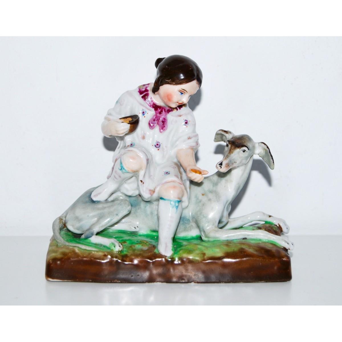 Figuras de niña y galgo, porcelana alemana (1880-1890)