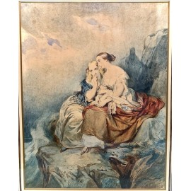 "Watercolor 19th century, ""couple of women contemplating the sea"""