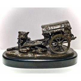 "Bronze, ""Dog with cart"" signed"