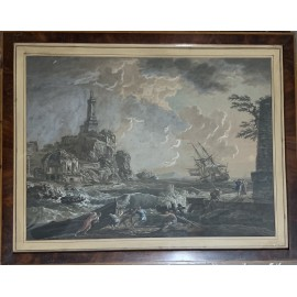 """Shipwreck at the port"" engraved watercolored XIXth"