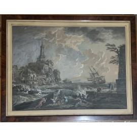 """""""Naufragio a porto"""" Stampa acquarellata del XIX secolo"""