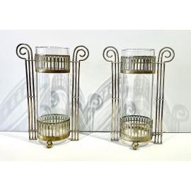 Coppia di vasi decó di ottone e vetro