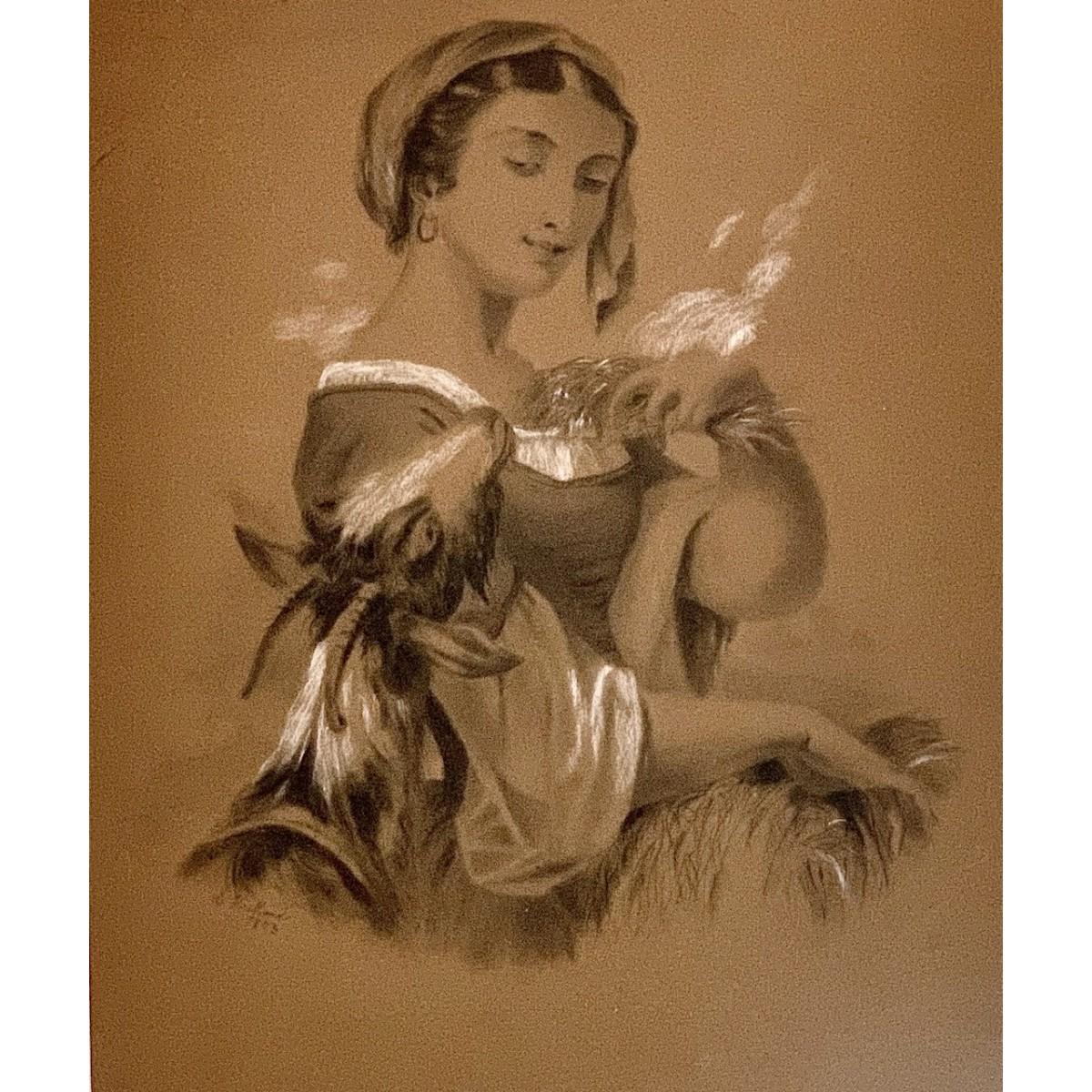 """Shepherdess"", charcoal drawing 19th"