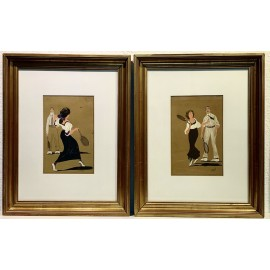 "Pair of gouache drawings on paper, ""Tennis lessons"""