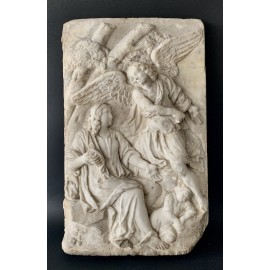 Bas-relief in white marble from 17th, Italy
