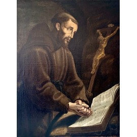 """San Francisco rezando"" óleo sobre lienzo del siglo XVII"