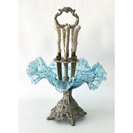 Light blue glass centerpiece early 20th