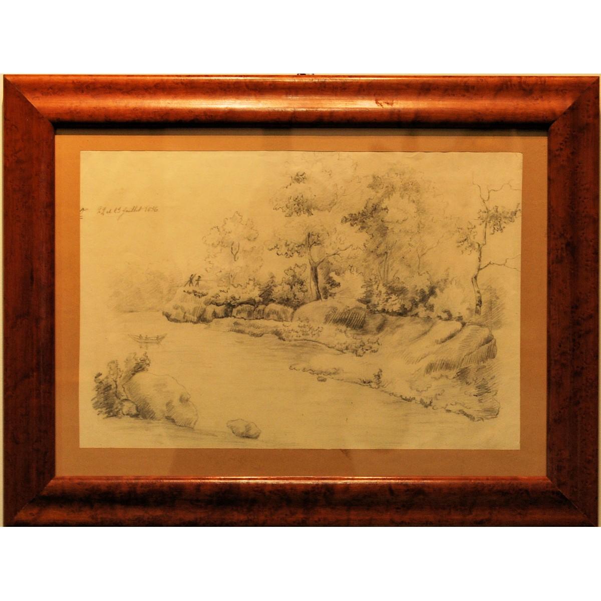 Paisaje, lapis, siglo XIX.