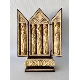 Piccolo altare da viaggio trittico in osso dell'800