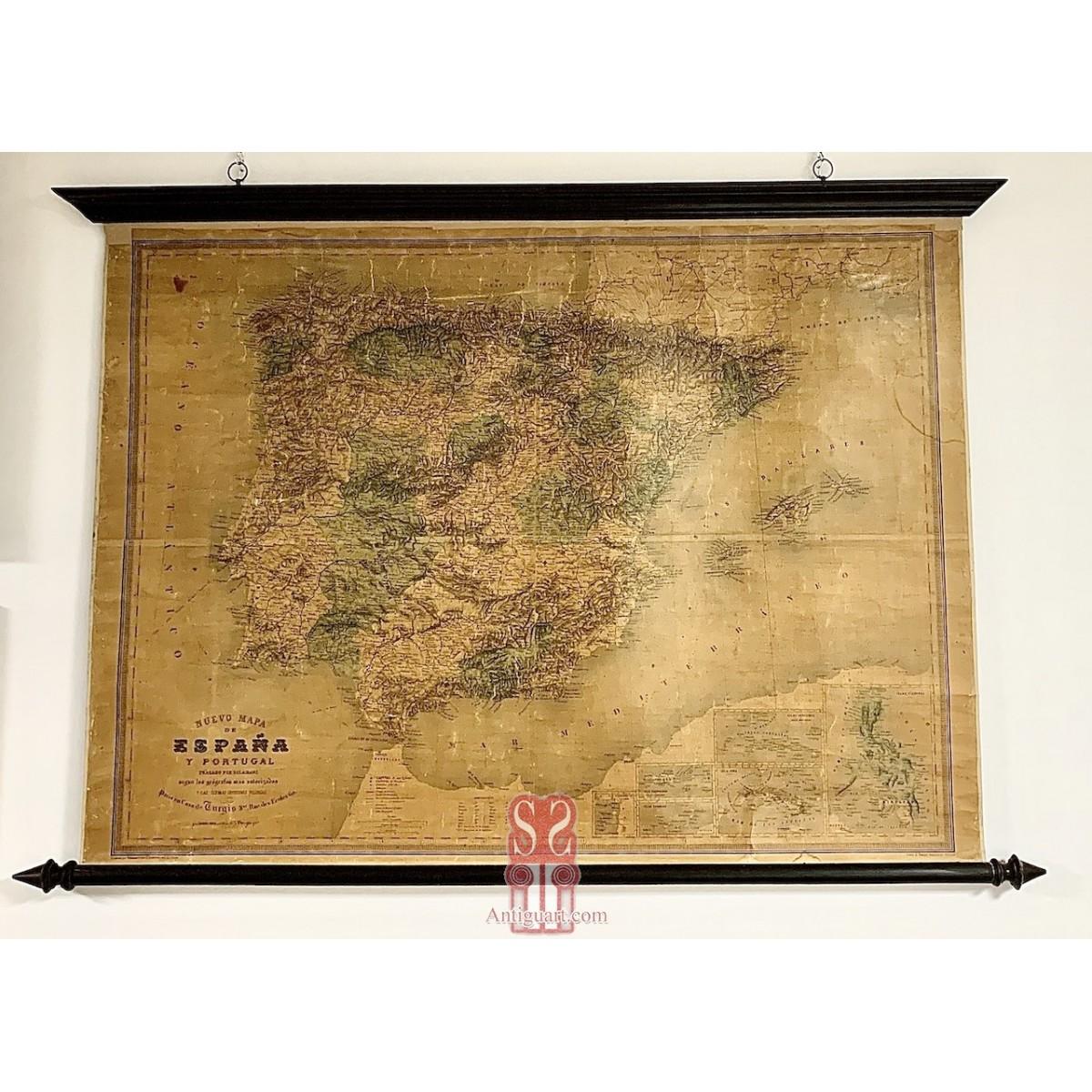 Mapa de España del siglo XIX (1870-1880)