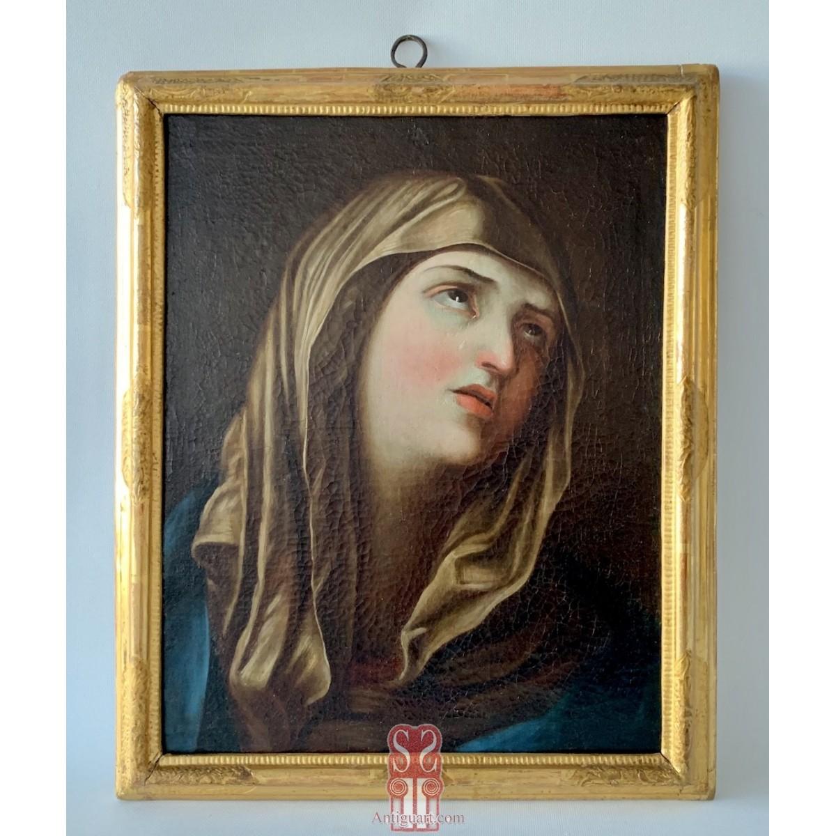 Sorrowful Madonna, Italian oil on canvas final 17th