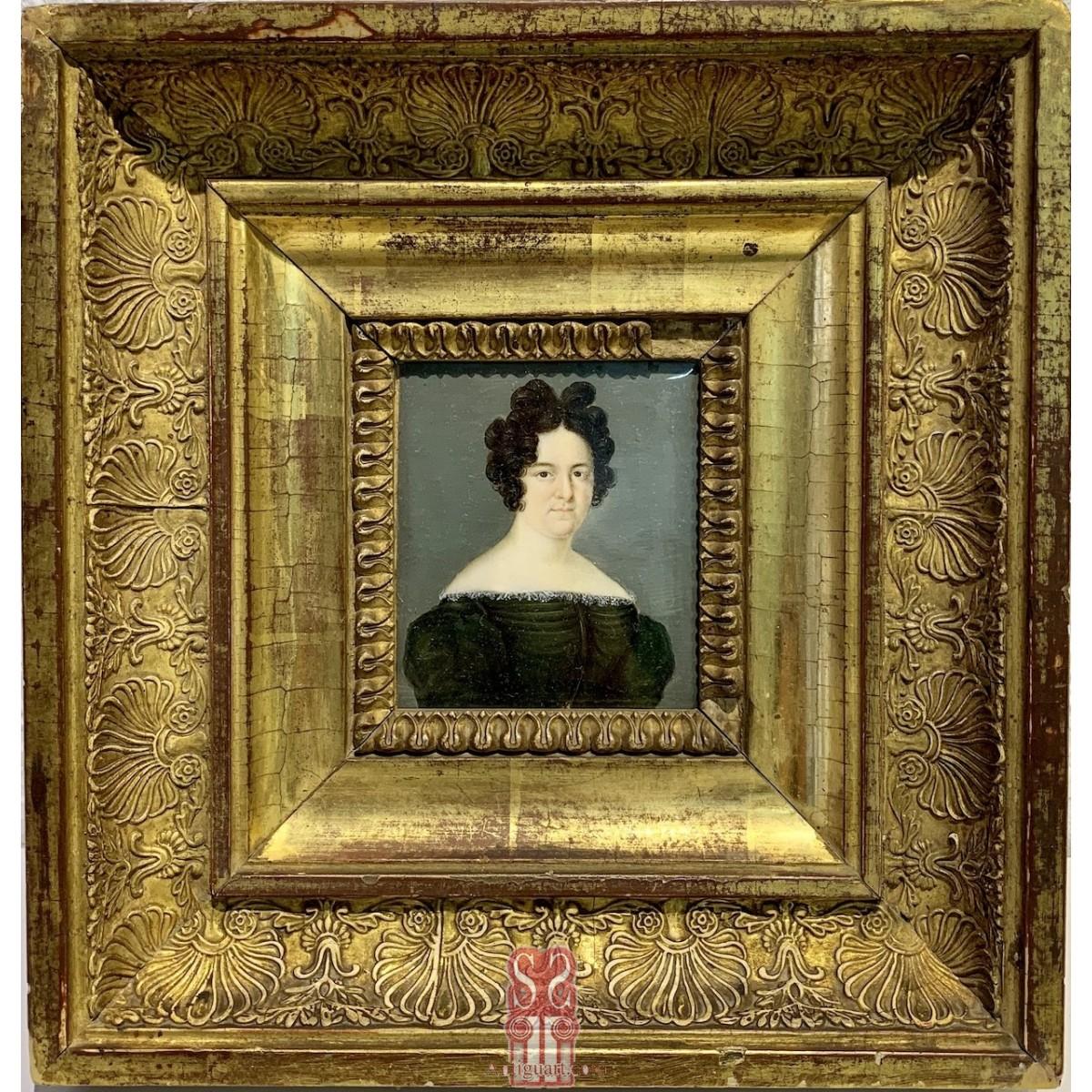 Miniatura, ritratto di donna dell'800
