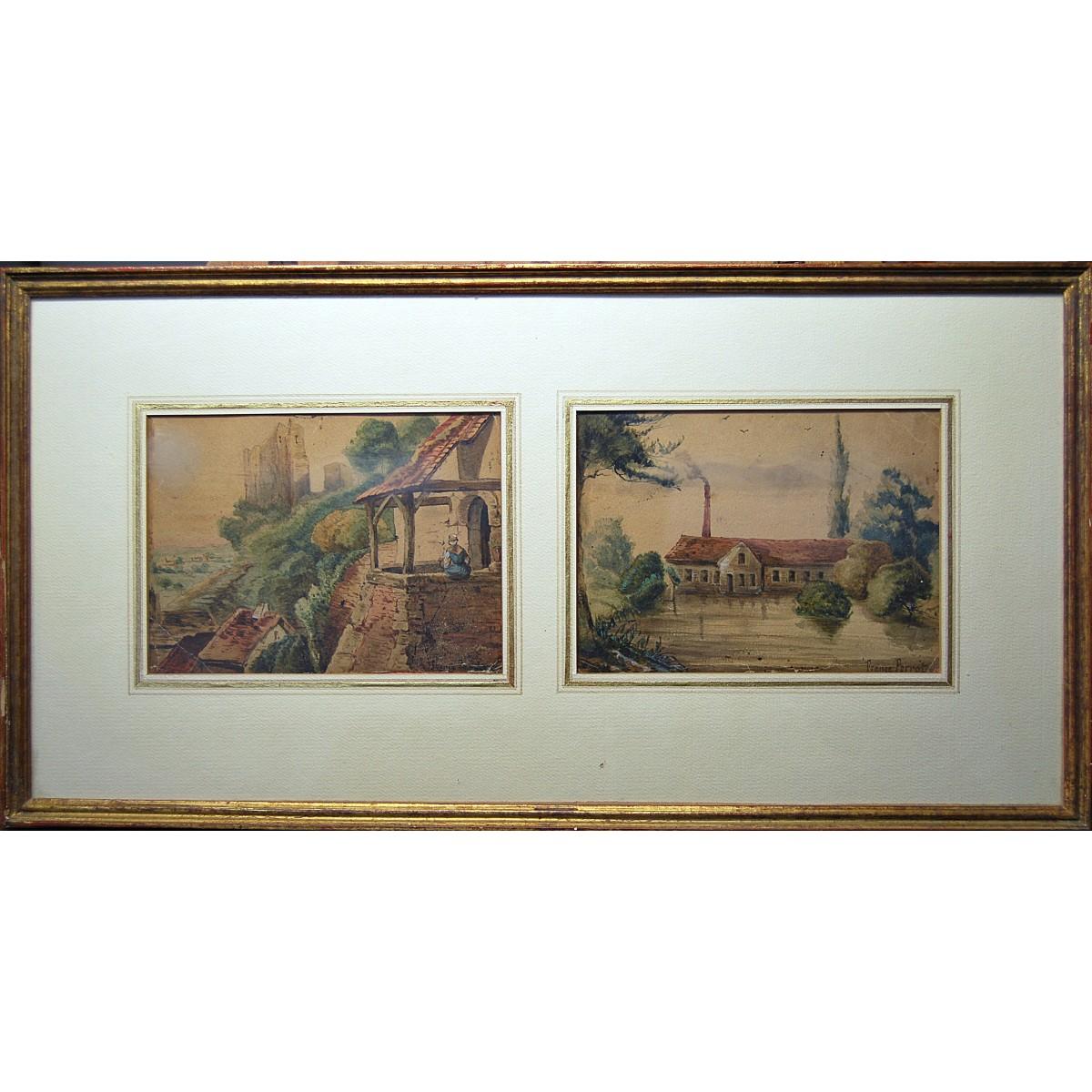 Paisajes, pareja de acuarelas, siglo XIX.