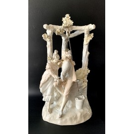 "Antique ceramics early 20th, ""Pair of figures in front of the well"" on sale"
